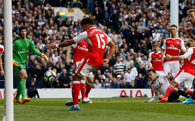 <span>Dele Alli hooks in Tottenham's first</span> <span>Credit: Paul Childs/REUTERS </span>