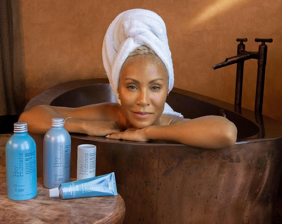 """<p>Jada Pinkett Smith is leading the way as co-founder and creative director of Hey Humans, a brand she's hoping will, in turn, lead the way toward more sustainable packaging in the beauty and personal-care space. All but completely plastic-free, the body products and toothpaste offered by the brand are no less easy or enjoyable to use than their less sustainable counterparts — and no more expensive. In fact, the brand is currently a Target exclusive, with nothing ringing up higher than $6.</p> <p><strong>Star product:</strong> <a href=""""https://shop-links.co/1747523257979922510"""" rel=""""nofollow noopener"""" target=""""_blank"""" data-ylk=""""slk:Hey Humans Naturally Derived Body Lotion in Banana Aloe"""" class=""""link rapid-noclick-resp"""">Hey Humans Naturally Derived Body Lotion in Banana Aloe</a> ($6) is like drenching your skin in a refreshing smoothie — though considerably less sticky. </p>"""