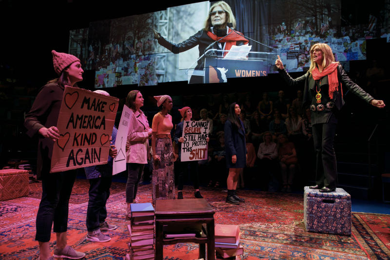 """In this image released by PBS, Christine Lahti, portrays Gloria Steinem, right, in a scene from """"Gloria - A Life."""" The taped theater production airs Friday on PBS. (Joan Marcus/PBS via AP)"""