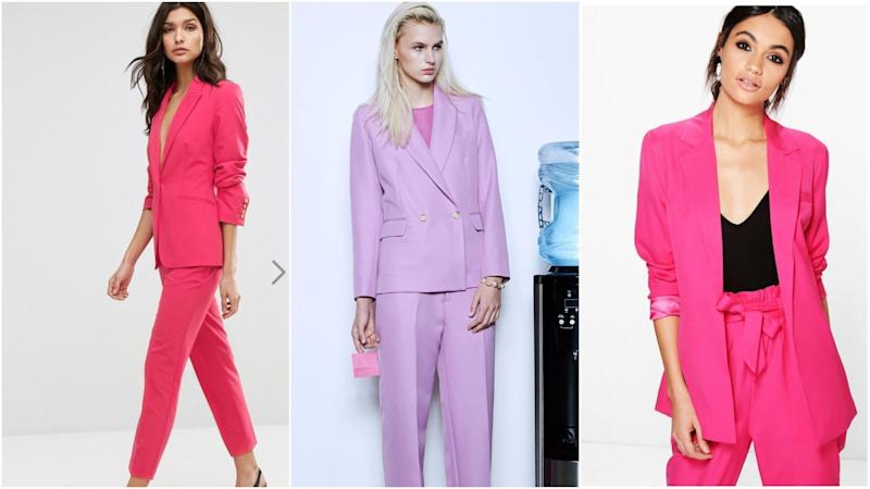 "L to R: <a href=""http://us.asos.com/millie-mackintosh-wren-blazer-anoda-pant-co-ord/grp/16751?setPrefSite=true&r=1&mk=na"" target=""_blank"">Millie Mackintosh Wren Blazer & Anoda Pant Co-Ord</a>, $268, <a href=""https://argentwork.com/collections/blazers/products/double-breasted-blazer?variant=35471281283"" target=""_blank"">Argent Double-Breasted Blazer</a>, $326, <a href=""http://us.boohoo.com/violet-premium-tailored-blazer/DZZ59704.html?gclid=EAIaIQobChMInMGtscC21gIVilqGCh2A1gNSEAQYCSABEgK59PD_BwE&_%24ja=tsid%3A82765%7Ccid%3A765425486%7Cagid%3A40203035477%7Ctid%3Apla-169292080385%7Ccrid%3A183122443823%7Cnw%3Ag%7Crnd%3A4985741923515349329%7Cdvc%3Ac%7Cadp%3A1o9&gclsrc=aw.ds"" target=""_blank"">Boohoo Violet Premium Tailored Blazer</a>, $30 (Asos / Argent / Boohoo)"