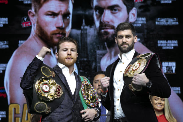 FILE - In this Oct. 17, 2018, file photo, Boxers Canelo Alvarez, left, and Rocky Fielding pose for photos at Madison Square Garden in New York. When Fielding enters the Garden on Dec. 15, it will not be his first time in the big arena but it will be his initial visit for a boxing event: his fight against Alvarez. (AP Photo/Richard Drew, File)