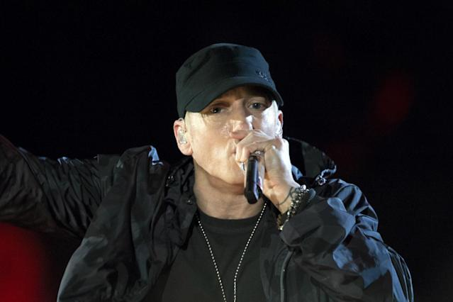 """The Real Slim Shady has stood up to talk politics through rhymes. Eminem has announced that he's working on his next album, and he shared a new song, """"Campaign Speech,"""" to whet fan's appetites."""