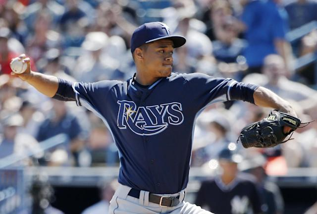 Tampa Bay Rays starting pitcher Chris Archer delivers during a spring training baseball game against the New York Yankees in Tampa, Fla., Sunday, March 9, 2014. (AP Photo/Kathy Willens)