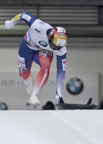 Yun Sung Bin from South Korea at the start of the ice channel in the first run of the men's Skeleton world cup in Winterberg, Germany, Sunday, Jan.5, 2019.  (Caroline Seidel/dpa via AP)