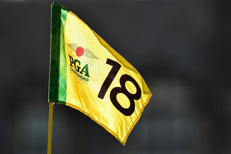 The flag on the 18th hole is seen during the second round of the 2016 PGA Championship at Baltusrol Golf Club on July 29, 2016 in Springfield, New Jersey