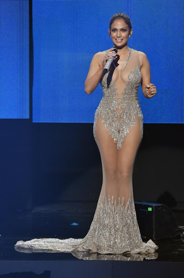 <p>Sparkly? Check. Sheer? Check. Stunning? You already know the answer to that. J.Lo's curves were positively bangin' out of control in this Charbel Zoe Couture gown.</p><p><i>Photo: Getty</i></p>