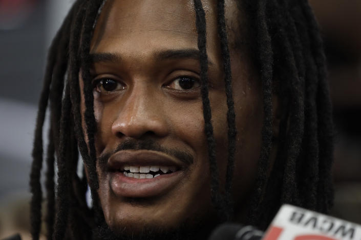 New England Patriots linebacker Dont'a Hightower speaks with reporters in the team's locker room following an NFL football practice, Wednesday, Dec. 18, 2019, in Foxborough, Mass. (AP Photo/Steven Senne)