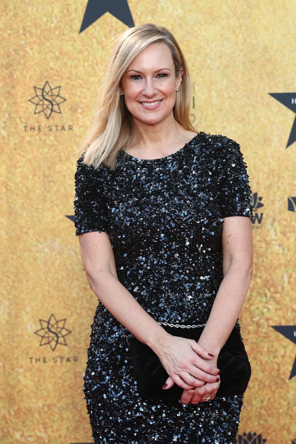 Melissa Doyle wearing a black sparkly dress at the Australian premiere of Hamilton at Lyric Theatre, Star City on March 27, 2021 in Sydney, Australia