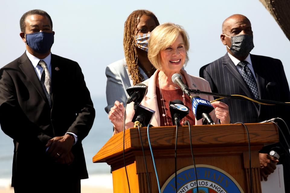 In April this year, Los Angeles County Supervisor Janice Hahn announces the process of returning Bruce's Beach in Manhattan Beach to the family of Willa and Charles Bruce. California State Sen. Steven Bradford, right, was the author of SB 796, which would allow the land to be returned to surviving members of the Bruce family. Los Angeles Supervisor Holly Mitchell stands center.