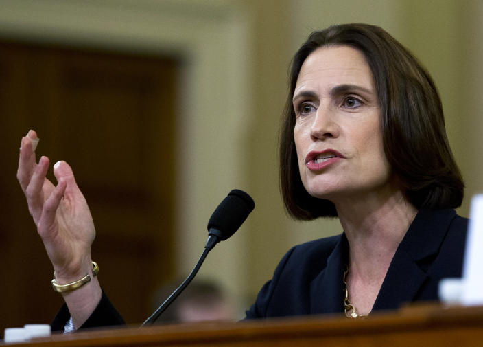 FILE - In this Nov. 21, 2019, file photo, fFormer White House national security aide Fiona Hill, testifies before the House Intelligence Committee on Capitol Hill in Washington. (AP Photo/Jose Luis Magana, File)