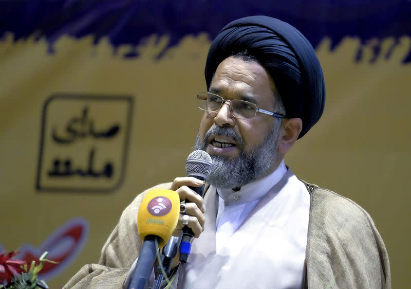 FILE PHOTO: Iran's Minister of Intelligence Mahmoud Alavi, a candidate for upcoming vote on the Assembly of Experts, speaks during a campaign gathering of candidates mainly close to the reformist camp, in Tehran