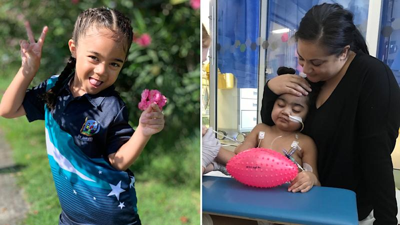 Lani is pictured left posing for a photo with a flower. Right, she is pictured with her mum, Maryanne. Source: Supplied