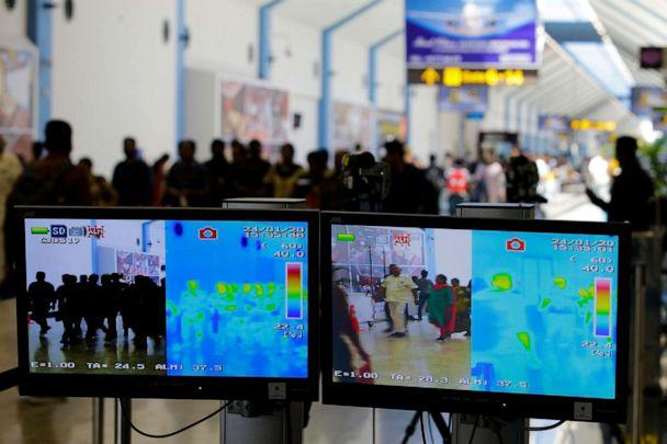 PHOTO: A thermal scanner monitor screen shows the temperature of arriving passengers at Bandaranaike International Airport in Colombo, Sri Lanka, 24 Jan. 2020. (EPA via Shutterstock)