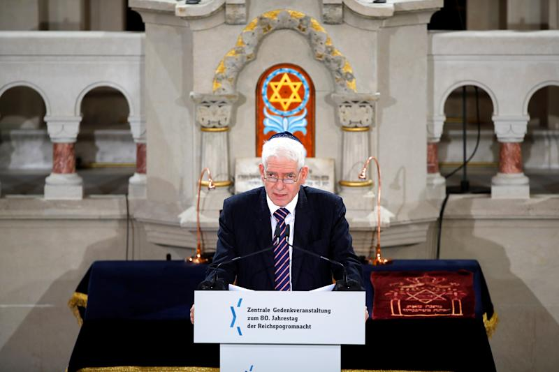 President of the Central Council of Jews in Germany Josef Schuster speaks during a ceremony to mark the 80th anniversary of Kristallnacht, also known as Night of Broken Glass, at Rykestrasse Synagogue, in Berlin, Germany, November 9, 2018. REUTERS/Axel Schmidt