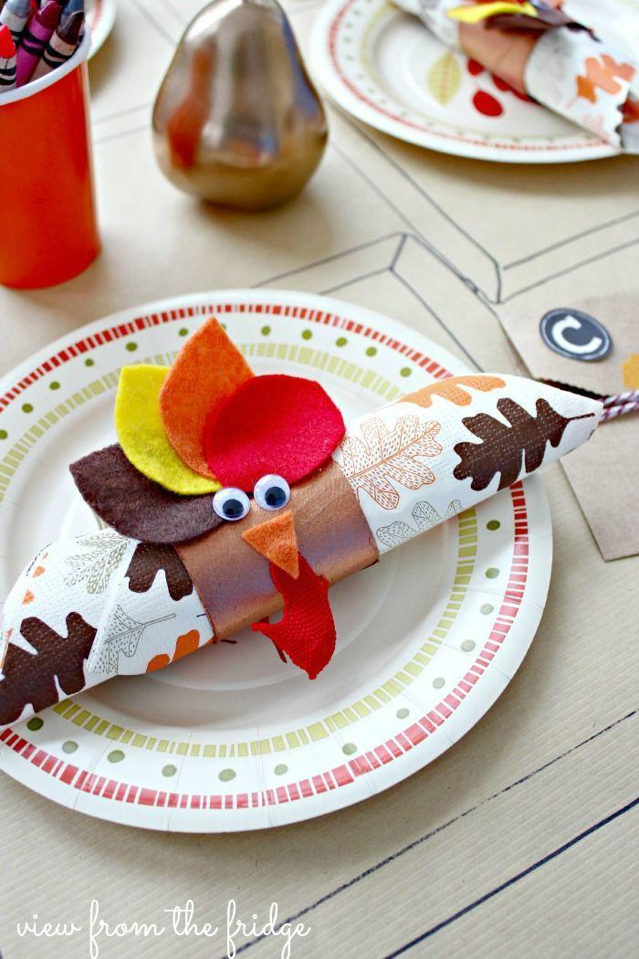 """<p>Make their chore of setting the table way more fun by asking them to pitch in with these adorable DIY turkey napkin holders. </p><p><em><a href=""""http://viewfromthefridge.com/simple-thanksgiving-ideas-food-table-settings/"""" rel=""""nofollow noopener"""" target=""""_blank"""" data-ylk=""""slk:Get the tutorial at View From the Fridge »"""" class=""""link rapid-noclick-resp"""">Get the tutorial at View From the Fridge »</a></em> </p>"""