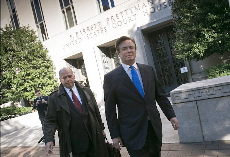 Paul Manafort leaves U.S. District Court on Monday after pleading not guilty on federal charges.