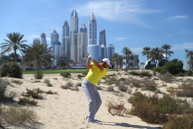 <p>DUBAI, UNITED ARAB EMIRATES – FEBRUARY 05: Sergio Garcia of Spain hits his second shot on the 8th hole during the final round of the Omega Dubai Desert Classic at Emirates Golf Club on February 5, 2017 in Dubai, United Arab Emirates. (Photo by Warren Little/Getty </p>