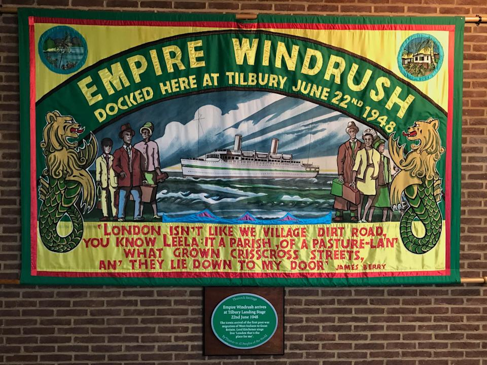 Windrush mural and plaque at the Port of Tilbury (Nicholas Boston)