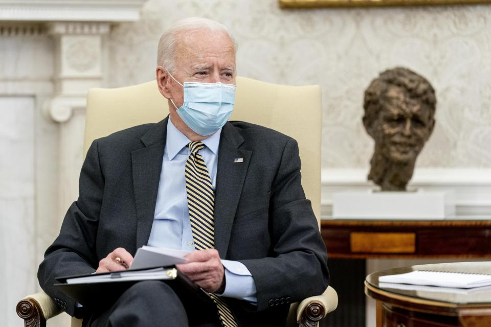 President Joe Biden speaks as he gets his weekly economic briefing in the Oval Office of the White House, Friday, April 9, 2021, in Washington. (AP Photo/Andrew Harnik)