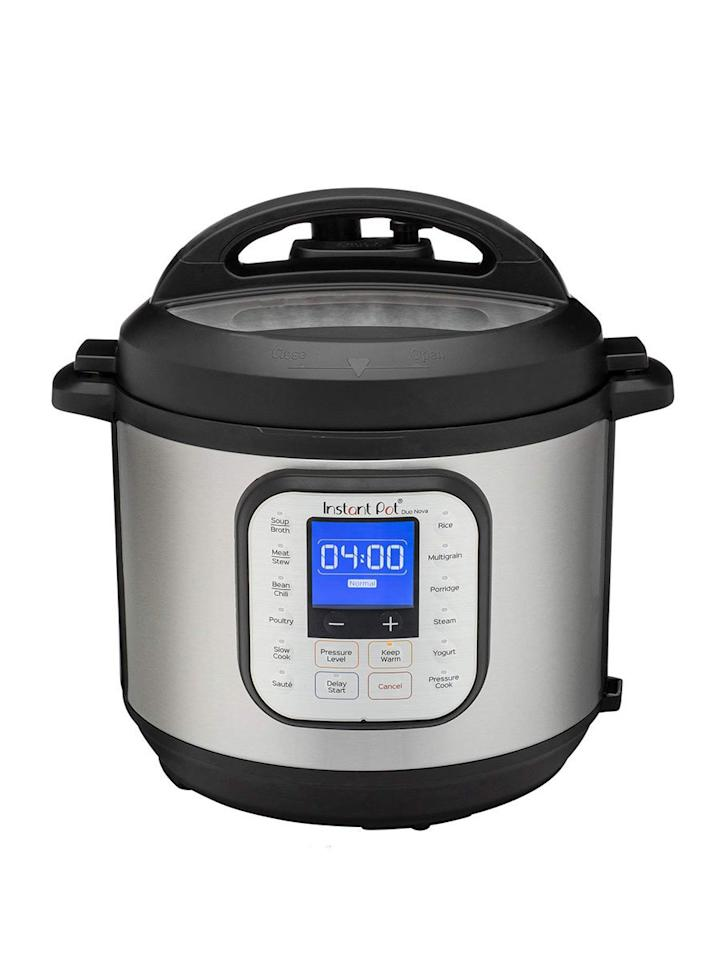 """<p>This gadget comes in four different sizes to fit your lifestyle, whether you cook for one or for a crowd. With 14 smart programs and seven functions, you can cook anything from chili to chicken with the press of a button.</p> <p><strong>To buy:</strong> $100; <a href=""""https://www.amazon.com/Instant-One-Touch-Multi-Use-Programmable-Pressure/dp/B07RCNHTLS/ref=as_li_ss_tl?ie=UTF8&linkCode=ll1&tag=rsfoodinstantbrandssmallkitchenappliancesccalucchia1019-20&linkId=50a4ae1e0448da595acf2c02f2635b2c&language=en_US"""" target=""""""""_blank"""""""">amazon.com</a>.</p>"""