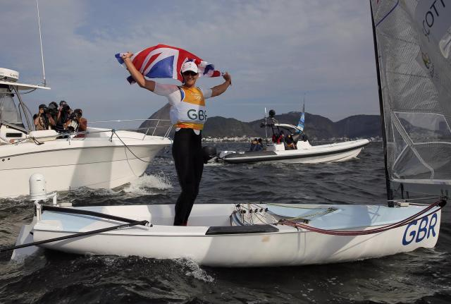 2016 Rio Olympics - Sailing - Final - Men's One Person Dinghy (Heavyweight) - Finn - Medal Race - Marina de Gloria - Rio de Janeiro, Brazil - 16/08/2016. Giles Scott (GBR) of Britain celebrates. REUTERS/Brian Snyder FOR EDITORIAL USE ONLY. NOT FOR SALE FOR MARKETING OR ADVERTISING CAMPAIGNS.