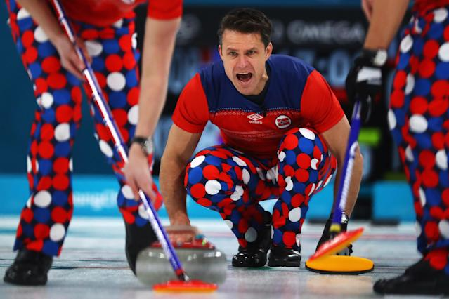 <p>Thomas Ulsrud of Norway competes in the Curling Men's Round Robin Session 4 held at Gangneung Curling Centre on February 16, 2018 in Gangneung, South Korea. </p>