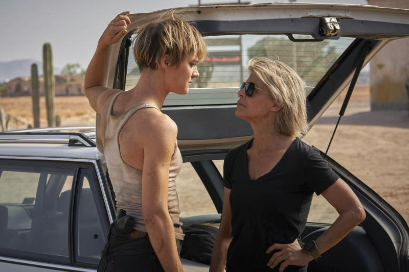 """This image released by Paramount Pictures shows Mackenzie Davis, left, and Linda Hamilton in """"Terminator: Dark Fate."""" (Kerry Brown/Paramount Pictures via AP)"""