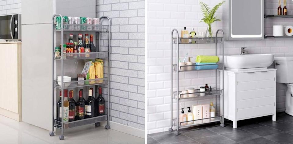 """Apartment-dwellers can use this to save a ton of space — it fits just about anywhere. Try it between your fridge and counter, or push it against the wall in your bathroom.<br /><br /><strong>Promising review:</strong>""""Just want we needed to fit into our limited space pantry. Can be moved out of the way when we need to reach other items."""" —<a href=""""https://amzn.to/3uYKUOh"""" target=""""_blank"""" rel=""""nofollow noopener noreferrer"""" data-skimlinks-tracking=""""5902331"""" data-vars-affiliate=""""Amazon"""" data-vars-href=""""https://www.amazon.com/gp/customer-reviews/RN8C6ASSVF8JA?tag=bfmal-20&ascsubtag=5902331%2C8%2C37%2Cmobile_web%2C0%2C0%2C16540693"""" data-vars-keywords=""""cleaning,fast fashion"""" data-vars-link-id=""""16540693"""" data-vars-price="""""""" data-vars-product-id=""""15968748"""" data-vars-retailers=""""Amazon"""">On The Road Again<br /><br /></a><strong>Get it from Amazon for<a href=""""https://amzn.to/3agyPMl"""" target=""""_blank"""" rel=""""nofollow noopener noreferrer"""" data-skimlinks-tracking=""""5902331"""" data-vars-affiliate=""""Amazon"""" data-vars-asin=""""B01KUZLAY4"""" data-vars-href=""""https://www.amazon.com/dp/B01KUZLAY4?tag=bfmal-20&ascsubtag=5902331%2C8%2C37%2Cmobile_web%2C0%2C0%2C16540725"""" data-vars-keywords=""""cleaning,fast fashion"""" data-vars-link-id=""""16540725"""" data-vars-price="""""""" data-vars-product-id=""""17983221"""" data-vars-product-img=""""https://m.media-amazon.com/images/I/41WbH63GOpL.jpg"""" data-vars-product-title=""""HOMFA 4-Tier Gap Kitchen Slim Slide Out Storage Tower Rack with Wheels, Cupboard with Casters - Silver"""" data-vars-retailers=""""Amazon"""">$36.59</a>.</strong>"""