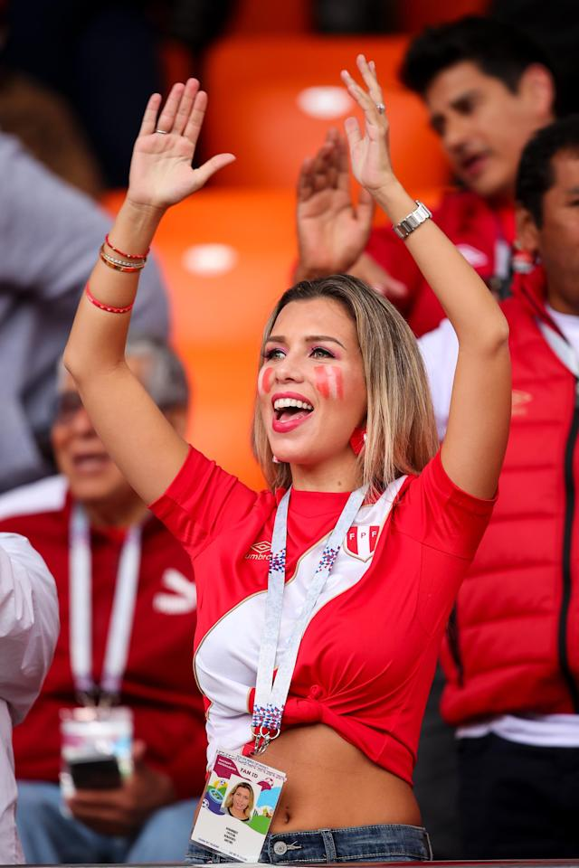 <p>A female fan of Peru looks on during the 2018 FIFA World Cup Russia group C match between France and Peru at Ekaterinburg Arena on June 21, 2018 in Yekaterinburg, Russia. (Photo by Robbie Jay Barratt – AMA/Getty Images) </p>