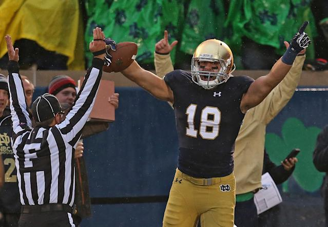 Ben Koyack celebrates after catching the game-winning TD on Saturday. (Getty)