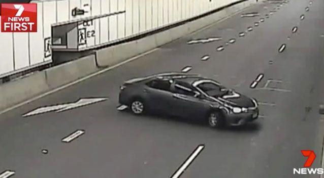 The driver entered the tunnel and then began to perform a three-point-turn. Source: 7 News