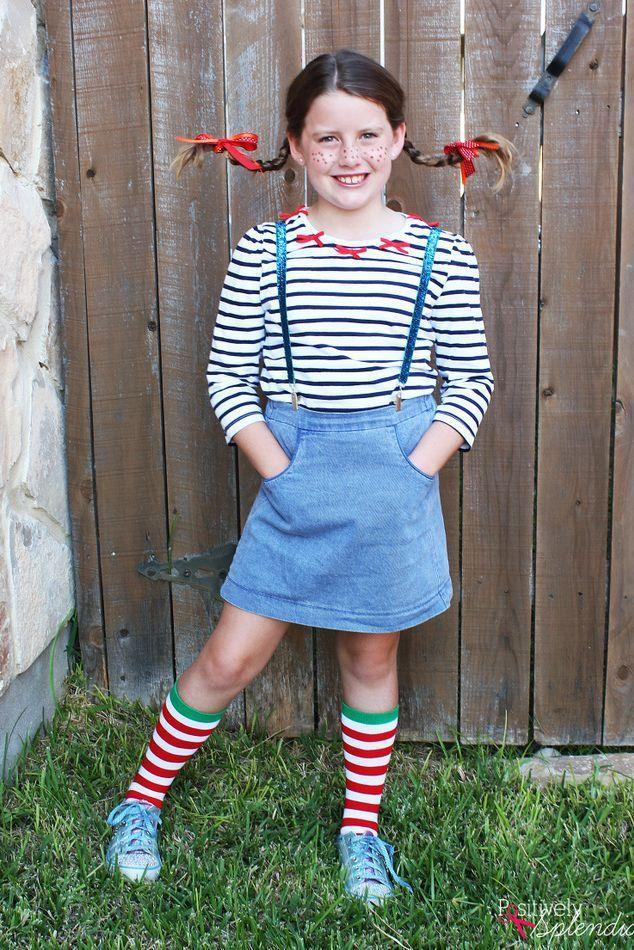 """<p>Who could forget Pippi Longstocking's lopsided braids or freckles? Recreate her whimsical look at home with this easy-to-follow tutorial.</p><p><strong>Get the tutorial at <a href=""""https://www.positivelysplendid.com/diy-pippi-longstocking-costume/"""" rel=""""nofollow noopener"""" target=""""_blank"""" data-ylk=""""slk:Positively Splendid"""" class=""""link rapid-noclick-resp"""">Positively Splendid</a>.</strong></p><p><a class=""""link rapid-noclick-resp"""" href=""""https://go.redirectingat.com?id=74968X1596630&url=https%3A%2F%2Fwww.walmart.com%2Fsearch%2F%3Fquery%3Dstriped%2Bsocks&sref=https%3A%2F%2Fwww.thepioneerwoman.com%2Fholidays-celebrations%2Fg37014285%2Fbook-character-costumes%2F"""" rel=""""nofollow noopener"""" target=""""_blank"""" data-ylk=""""slk:SHOP STRIPED SOCKS"""">SHOP STRIPED SOCKS</a></p>"""