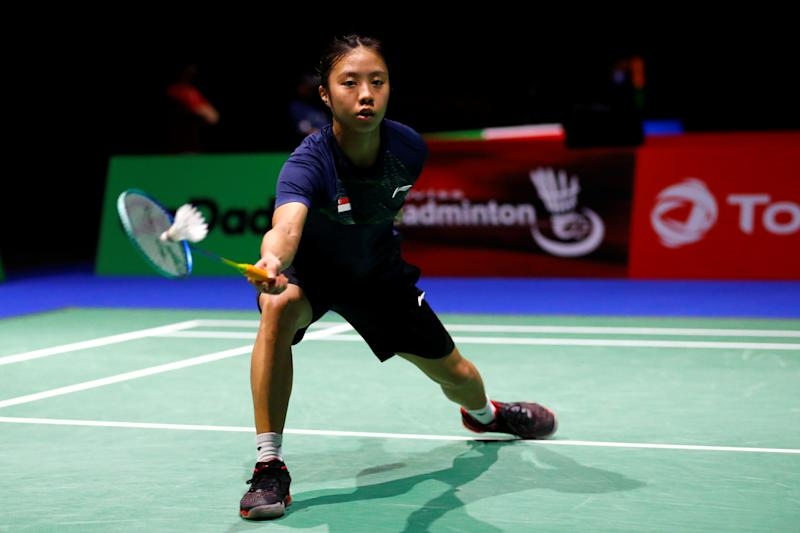 2019 Badminton World Championships - St. Jakobshalle Basel, Basel, Switzerland - August 22, 2019 Singapore's Yeo Jia Min in action during her third round women's singles match against Vietnam's Thi Trang Vu REUTERS/Arnd Wiegmann