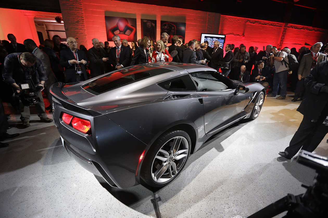 The new Corvette Stingray is displayed after its unveiling in Detroit.