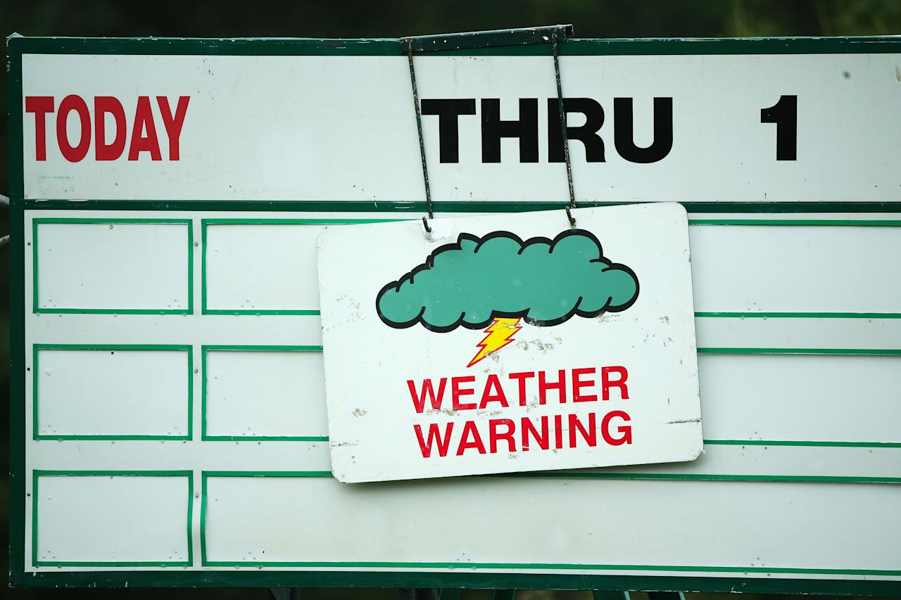 ARDMORE, PA - JUNE 10:  A weather warning is seen posted during a practice round prior to the start of the 113th U.S. Open at at Merion Golf Club on June 10, 2013 in Ardmore, Pennsylvania.  (Photo by Andrew Redington/Getty Images)