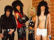 <p>Mötley Crüe—Mick Mars, Tommy Lee, Vince Neil, and Nikki Sixx—strike a pose backstage on April 19, 1982 at the Old Waldorf in San Francisco. </p>