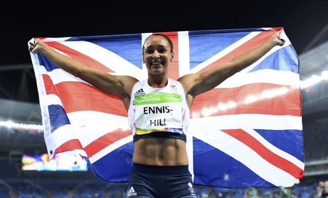 2016 Rio Olympics - Athletics - Final - Women's Heptathlon 800m - Olympic Stadium - Rio de Janeiro, Brazil - 13/08/2016. Jessica Ennis-Hill (GBR) of Britain celebrates after the race REUTERS/Dylan Martinez FOR EDITORIAL USE ONLY. NOT FOR SALE FOR MARKETING OR ADVERTISING CAMPAIGNS.