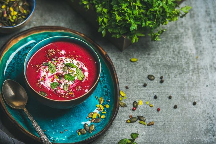 """<span class=""""caption"""">Beetroot soup – or is that mud soup ..?</span> <span class=""""attribution""""><a class=""""link rapid-noclick-resp"""" href=""""https://www.shutterstock.com/image-photo/spring-detox-beetroot-soup-mint-chia-626659418"""" rel=""""nofollow noopener"""" target=""""_blank"""" data-ylk=""""slk:Foxys Forest Manufacture/Shutterstock"""">Foxys Forest Manufacture/Shutterstock</a></span>"""