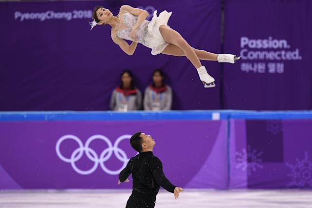 China's Yu Xiaoyu and Zhang Hao compete in the pair skating short program of the figure skating event during the Pyeongchang 2018 Winter Olympic Games at the Gangneung Ice Arena in Gangneung on Feb. 14, 2018.