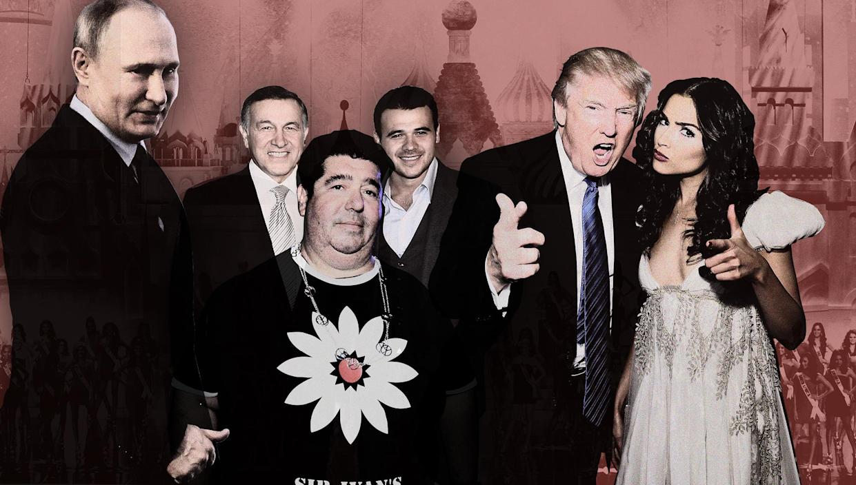 Russian President Vladimir Putin, Aras Agalarov, Rob Goldstone, Emin Agalarov, Donald Trump and Olivia Culpo. (Photo illustration: Yahoo News; photos: Mikhail Svetlov/Getty Images, Jeff Bottari/AP, Adriel Reboh/Patrick McMullan via Getty Images, Victor Boyko/Getty Images, Maxim Shemetov/Reuters)