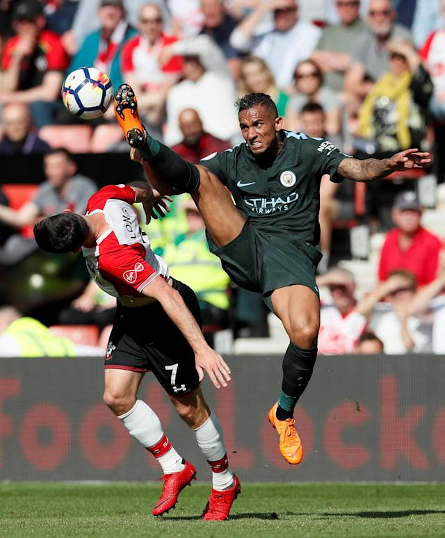 "Soccer Football - Premier League - Southampton vs Manchester City - St Mary's Stadium, Southampton, Britain - May 13, 2018 Manchester City's Danilo in action with Southampton's Shane Long REUTERS/David Klein EDITORIAL USE ONLY. No use with unauthorized audio, video, data, fixture lists, club/league logos or ""live"" services. Online in-match use limited to 75 images, no video emulation. No use in betting, games or single club/league/player publications. Please contact your account representative for further details. TPX IMAGES OF THE DAY"