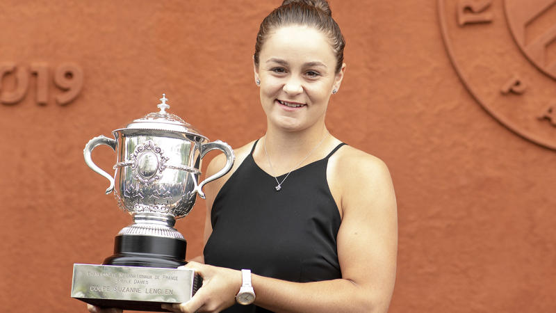 Ash Barty, pictured here after winning the French Open in 2019.
