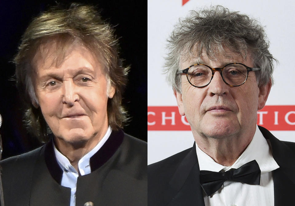"""Paul McCartney appears during his One on One Tour in Tinley Park, Ill., on July 26, 2017, left, and poet Paul Muldoon appears at the 2019 PEN America Literary Gala in New York on May 21, 2019. McCartney's memoir, """"The Lyrics: 1956 to the Present,"""" will be released Nov. 2. The 78-year-old McCartney will trace his life through 154 songs, from his teens and early partnership with fellow Beatle John Lennon to his solo work over the past half century. Muldoon will be the editor and will contribute an introduction. (Photos by Rob Grabowski/Invision/AP, left, and Evan Agostini/Invision/AP)"""