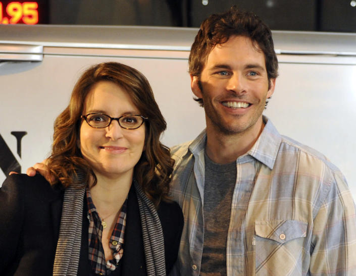"""This undated image released by NBC shows James Marsden as Criss, right, and Tina Fey as Liz Lemon in a scene from """"30 Rock."""" The characters will wed on the """"30 Rock"""" episode that airs Nov. 29. (AP Photo/NBC, Ali Goldstein)"""