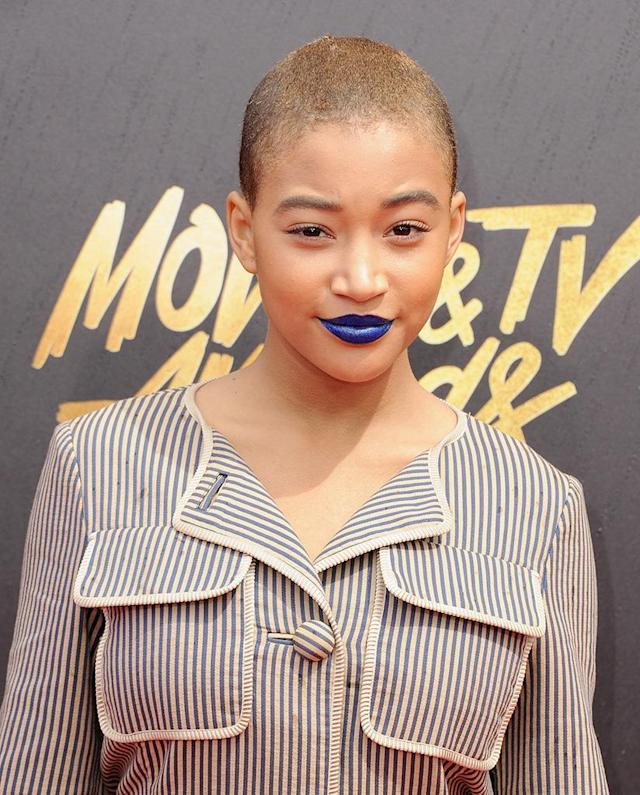 "<p>The young actress had no qualms about showing off her new coif at the 2017 MTV Movie & TV Awards. The look is for her role in the film <em>Where Hands Touch, ""</em><a href=""http://www.refinery29.com/2017/01/135207/amandla-stenberg-shaved-head-movie-where-hands-touch"" rel=""nofollow noopener"" target=""_blank"" data-ylk=""slk:which focuses on"" class=""link rapid-noclick-resp"">which focuses on</a> the 'experience of biracial children growing up in Nazi Germany.'"" (Photo: Jon Kopaloff/FilmMagic) </p>"