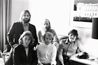 <p>The Beach Boys pose in a green room backstage before a concert in December 1970. </p>