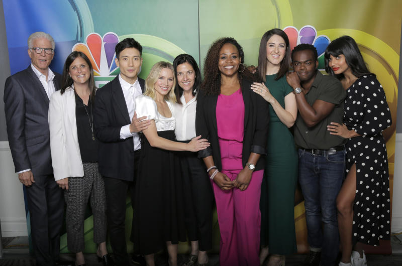 From left, Ted Danson, Lisa Katz, Manny Jacinto, Kristen Bell, Tracey Pakosta, Pearlena Igbokwe, D'Arcy Carden, William Jackson Harper and Jameela Jamil
