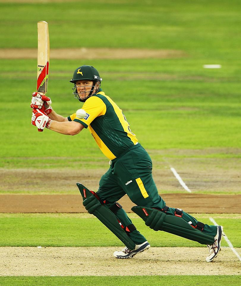 NOTTINGHAM, ENGLAND - JULY 26:  Ali Brown of Nottinghamshire hits the ball towards the boundary during the Friends Provident T20 Quarter Final match between Nottinghamshire and Sussex at Trent Bridge on July 26, 2010 in Nottingham, England.  (Photo by Matthew Lewis/Getty Images)