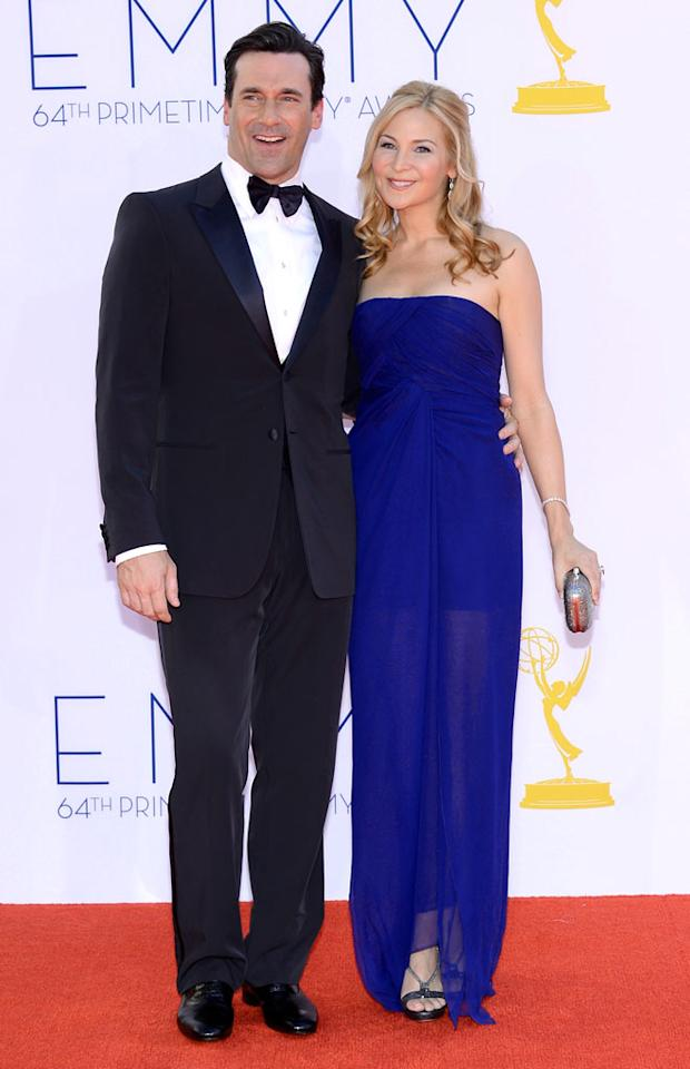 Jon Hamm and Jennifer Westfeldt arrive at the 64th Primetime Emmy Awards at the Nokia Theatre in Los Angeles on September 23, 2012.