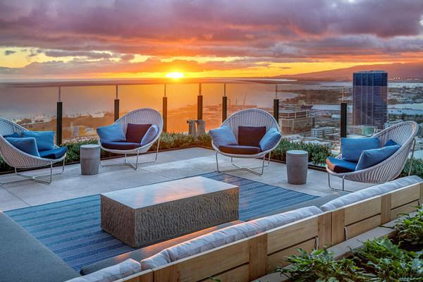 Indoor-outdoor penthouse-level Sky Deck at ʻAʻaliʻi®, the fifth residential tower to open at Ward Village®